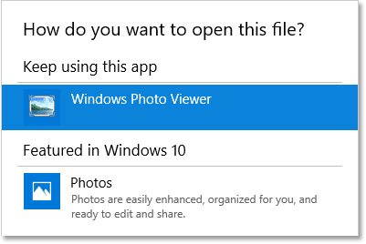 Windows 10 is the current default app for opening TIFF files.