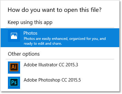 Photos is currently the default app for opening JPEG files.