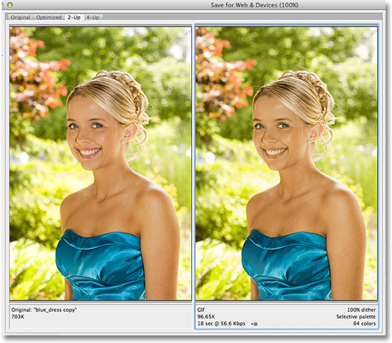 The 2-Up preview mode in the Save For Web and Devices dialog box. Image © 2012 Photoshop Essentials.com