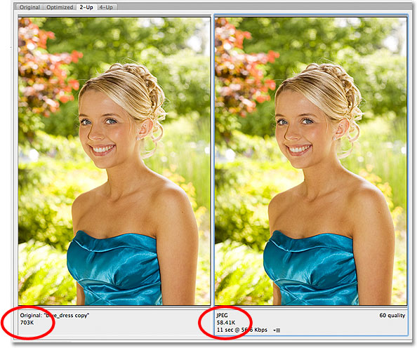 Comparing file sizes between the original and optimized versions of the image. Image © 2012 Photoshop Essentials.com
