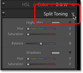 Opening the Split Toning panel in Lightroom