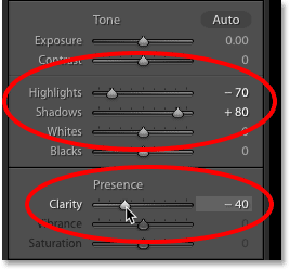 The Highlights, Shadows and Clarity sliders in the Basic panel in Lightroom
