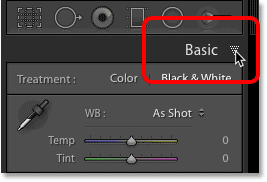 The Basic panel in Lightroom