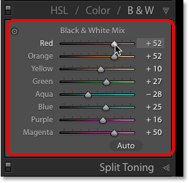 The Black and White Mix color sliders in Lightroom