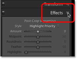 The Effects panel in Lightroom