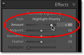 The Post-Crop Vignetting Amount slider in Lightroom