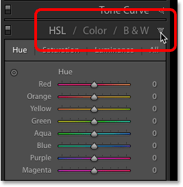 Opening the HSL / Color / B & W panel in Adobe Lightroom