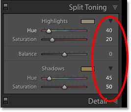 The Split Toning panel in Lightroom