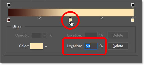 Adding a third color stop and setting its location to 50 percent.