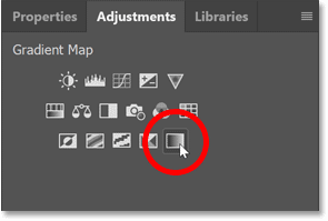 Adding a Gradient Map from Photoshop's Adjustments panel.
