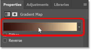 Clicking the gradient preview bar in Photoshop's Properties panel.