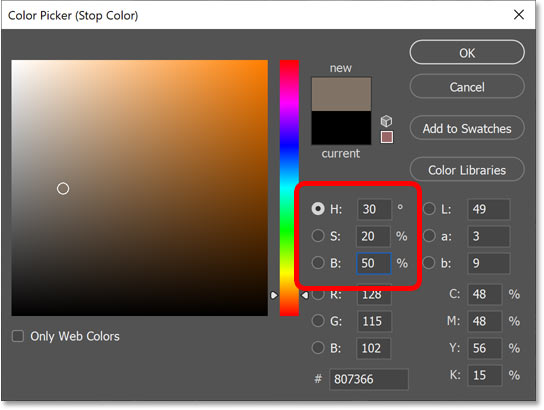 Choosing a color for the midtones from the Color Picker.