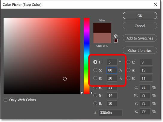 Choosing a dark red for the shadows in the image.