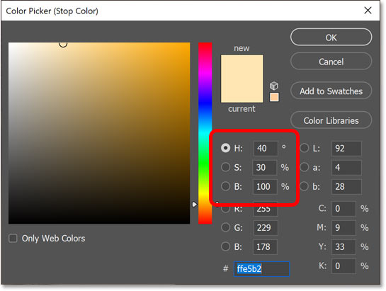 Choosing a bright yellow for the highlights in the image.