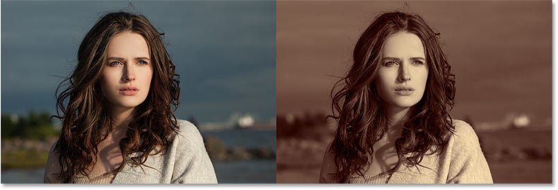 A comparison of the original image (left) and the gradient map set to Color (right).