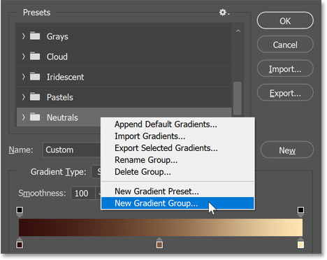 Adding a new gradient group in the Presets area.
