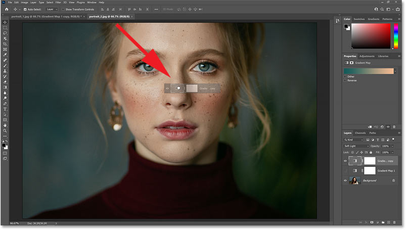 Waiting until Photoshop switches to the second image and then dragging the Gradient Map adjustment layer onto it.