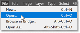 Choosing the Open command from Photoshop's File menu.