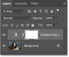 The new Gradient Map adjustment layer in Photoshop's Layers panel.