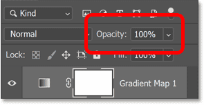 Setting the Gradient Map adjustment layer's opacity back to 100 percent.