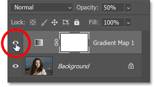 The Gradient Map adjustment layer's visibility icon.