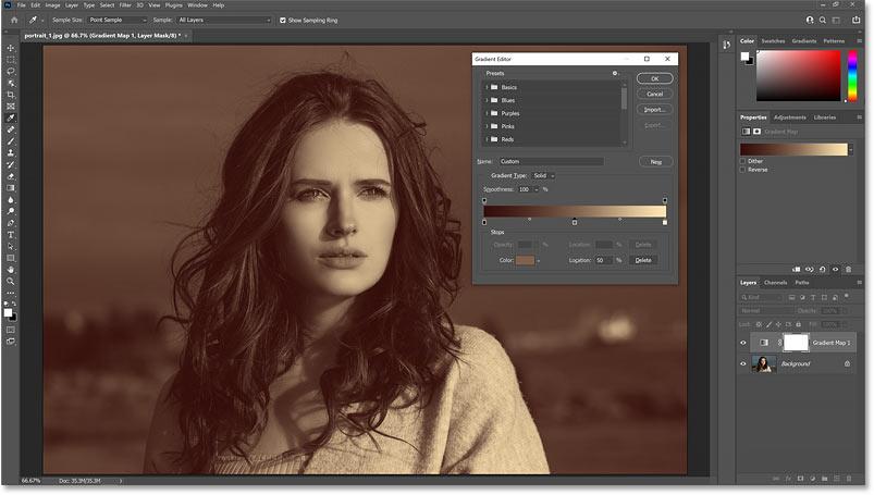 The color graded image with separate colors for the shadows, highlights and midtones.