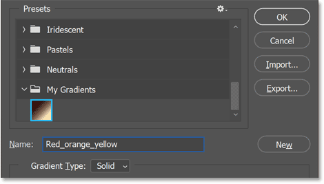 The new preset is added to the new group.