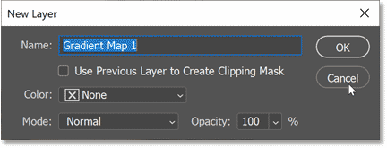 Closing the New Layer dialog box.