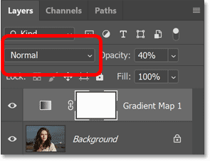 The blend mode of the Gradient Map adjustment layer is set to Normal by default.