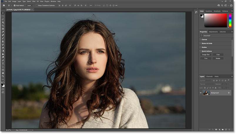 The original image that will be color graded in Photoshop