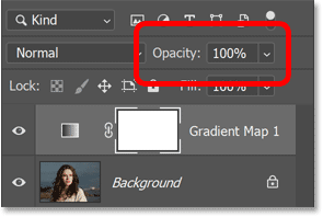 Setting the Gradient Map adjustment layer-s opacity back to 100 percent.
