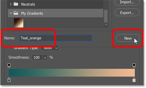 Saving a second custom gradient preset in Photoshop's Gradient Editor.
