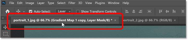Using the tabs to switch between open Photoshop documents.
