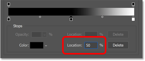 Setting the new color stop's location to 50 percent.
