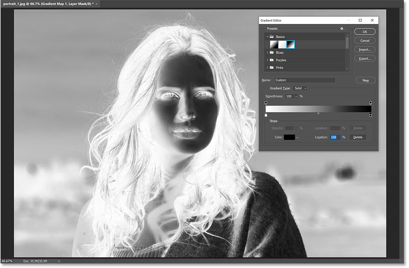 Swapping the black and white colors in the gradient inverts the brightness in the image.