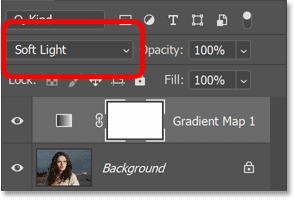Changing the gradient map's blend mode to Soft Light.