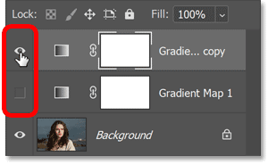 Use the visibility icons to switch between gradient maps in the Layers panel.
