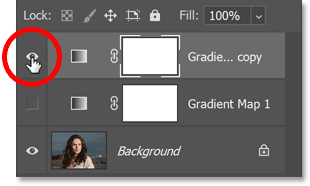 Turning on the copy of the Gradient Map adjustment layer.