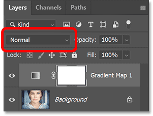 The Blend Mode option in Photoshop's Layers panel set to the Normal blend mode.