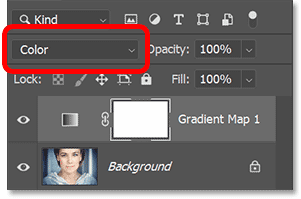 Changing the Gradient Map's blend mode to Color.