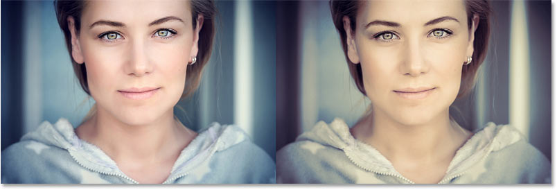 A comparion between the original image and the color graded version.