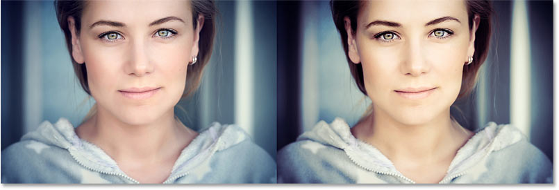 A comparison between the original image and the color grading effect using the Soft Light blend mode.