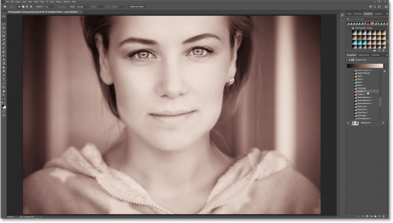 The color grading effect using the Copper 1 Photographic Toning preset