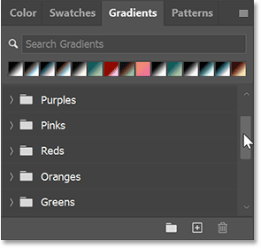Scrolling through the default gradient groups in the Gradients panel