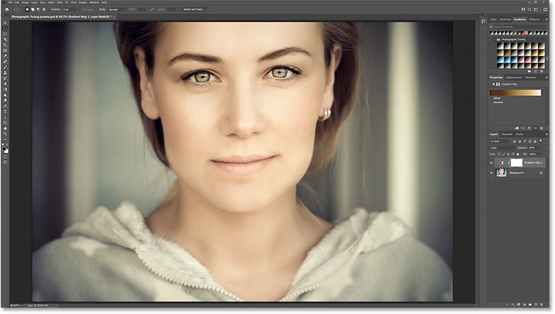 The color grading result using the Gold 1 Photographic Toning preset set to the Color blend mode at 40 percent opacity.