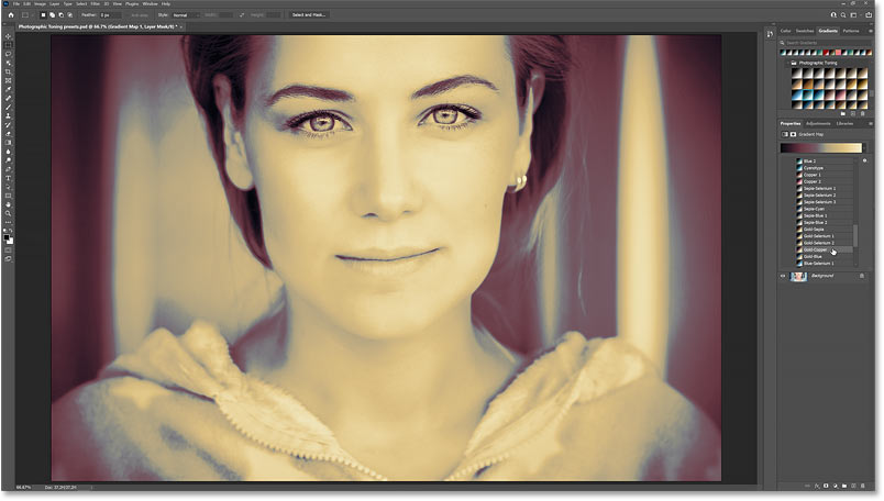 The color grading effect using the Gold-Copper Photographic Toning preset