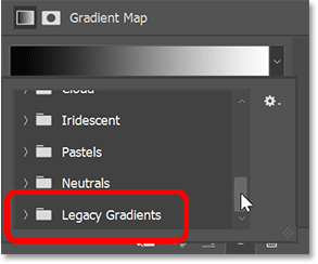 Scrolling to the Legacy Gradients group in Photoshop's Gradient Picker