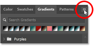 Clicking the Gradients panel menu icon in Photoshop