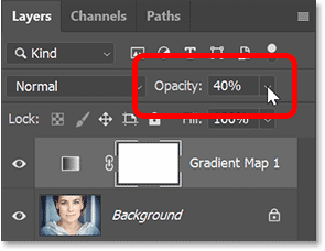 Lowering the opacity of the Gradient Map in Photoshop's Layers panel