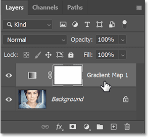 Photoshop's Layers panel showing the Gradient Map adjustment layer
